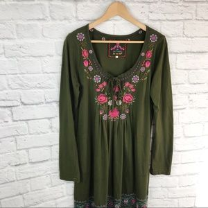 Johnny Was 🌷Embroidered Dark Green Dress